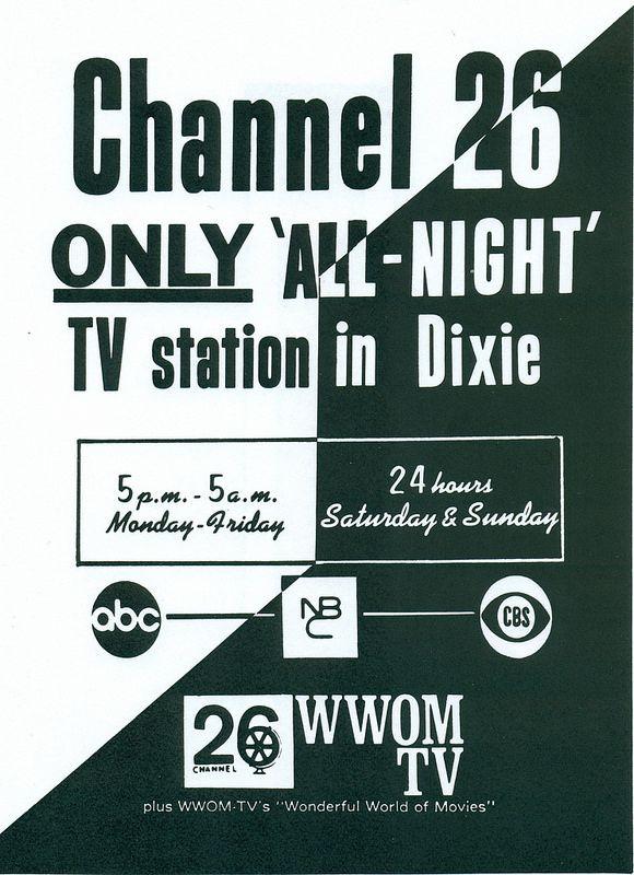 WWOM-TV Ony All-Night TV Station In Dixie 9-19700001 | CCTV