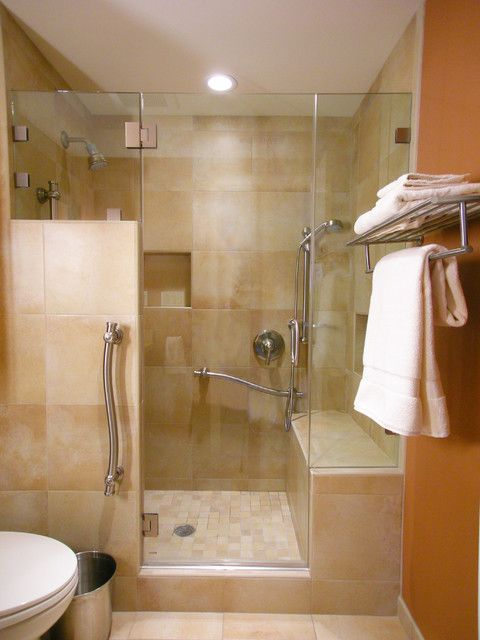 Handicap Grab Bars Bathroom Traditional With Bathroom Bench Cream Bathroom  Cream Bathroom Tile Glass Shower