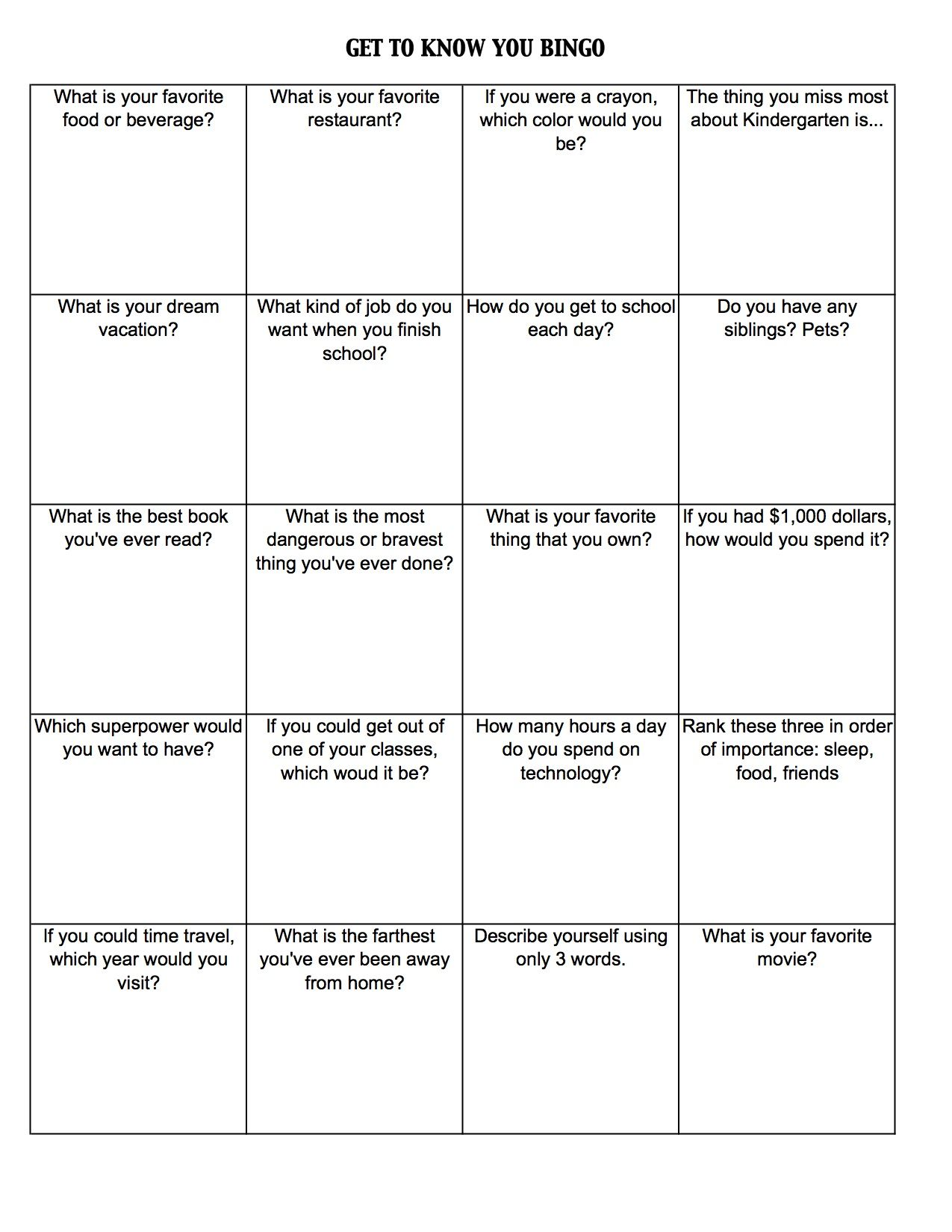 get to know you worksheets | Get To Know You Bingo (c) Kristen ...