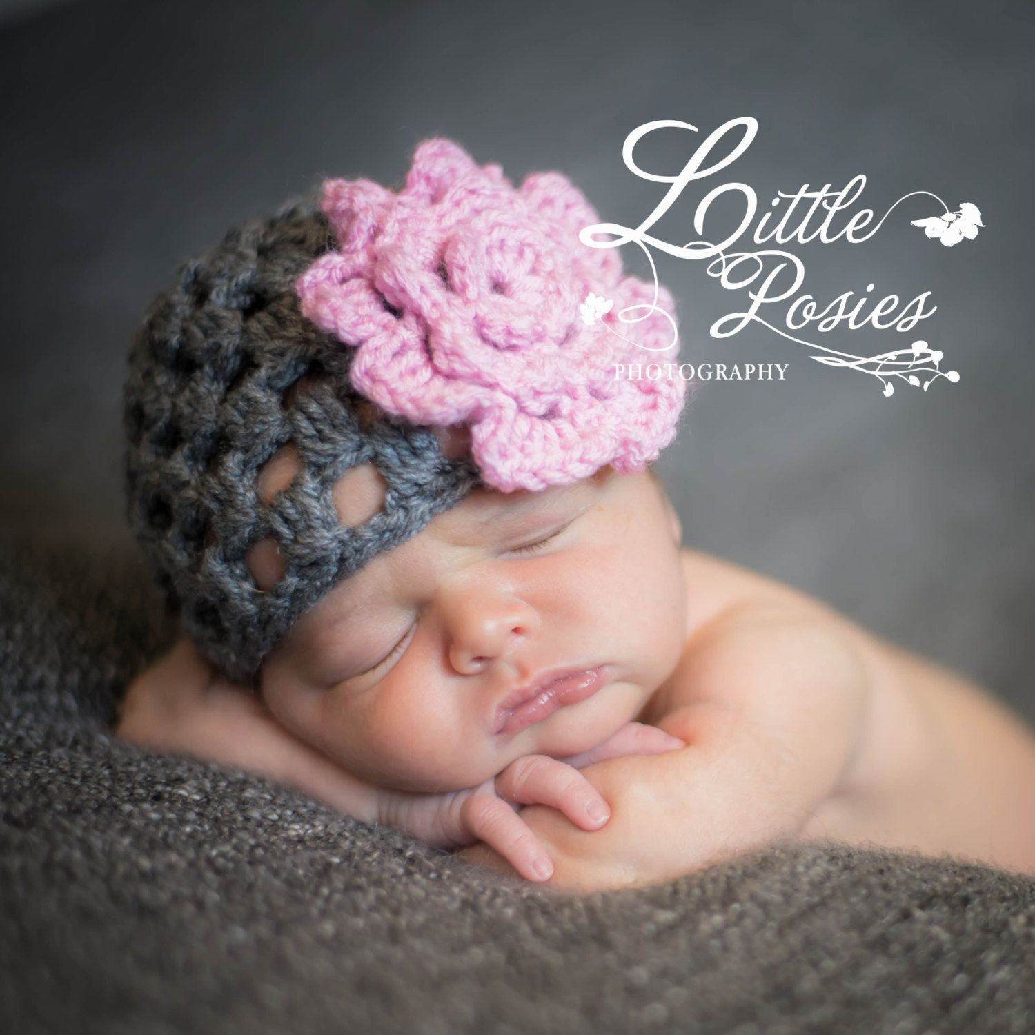 Crochet grey shell hat beanie with flower photo prop girl infant