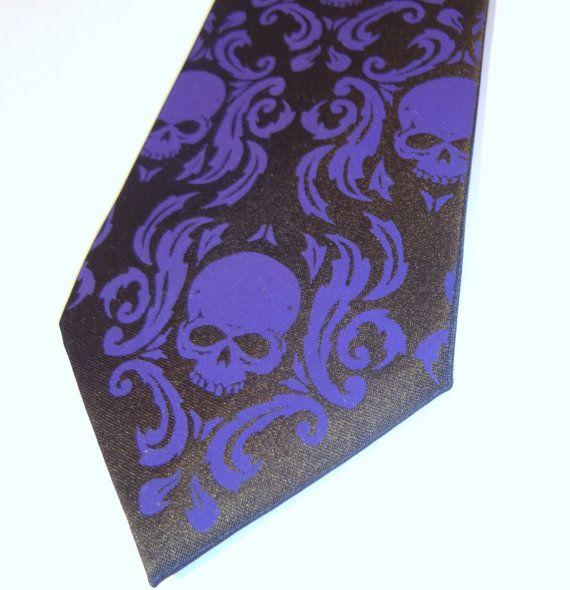 Damask skull necktie men tie  sale by RokGear on Etsy