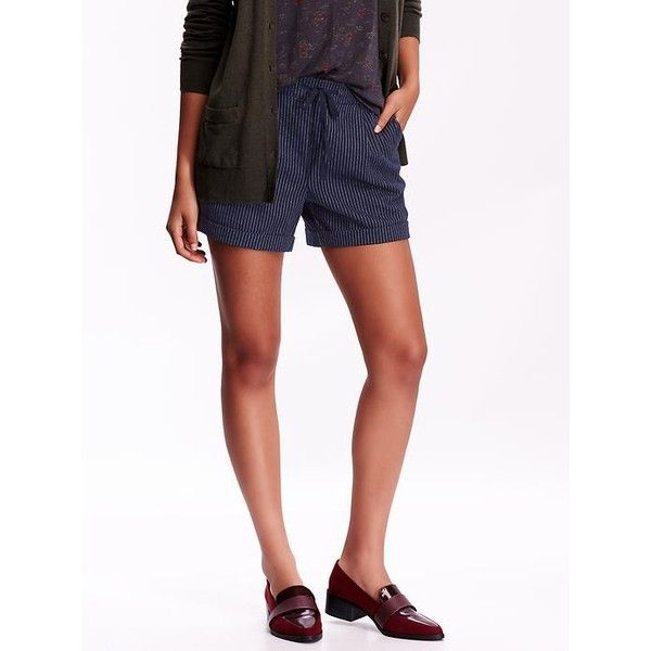 """Old Navy Womens Cuffed Flannel Shorts 4"""" featuring polyvore, fashion, clothing, shorts, blue, relaxed shorts, cuff shorts, mid thigh shorts, old navy and cuffed shorts"""