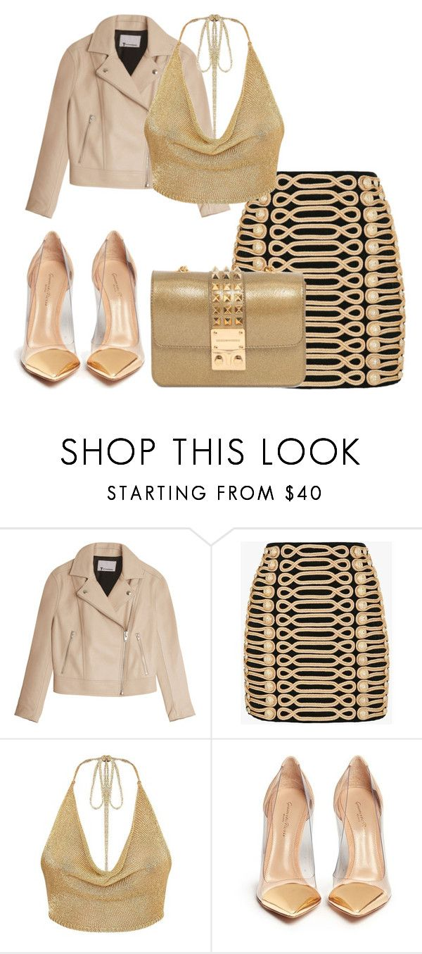 """Bez naslova #2118"" by selia-101 ❤ liked on Polyvore featuring T By Alexander Wang, Balmain, Gianvito Rossi and Design Inverso"