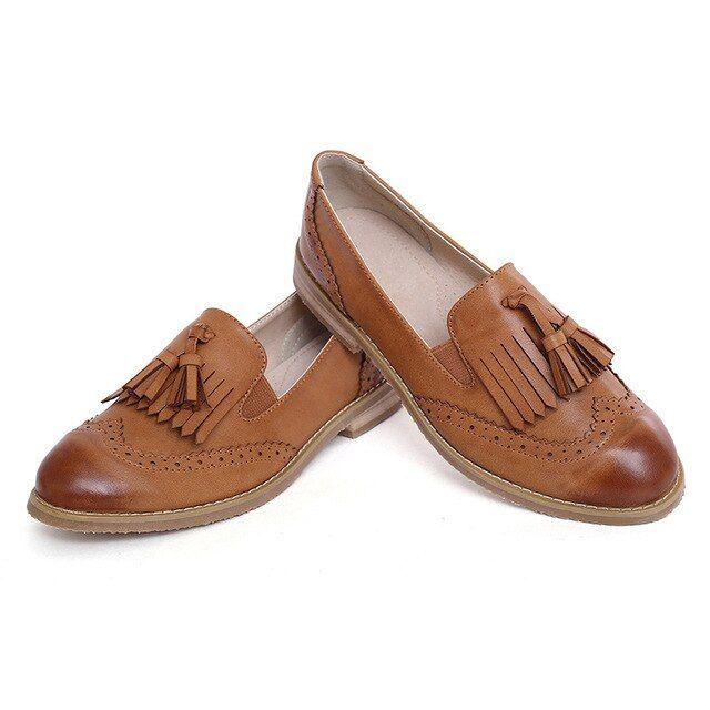 Women Dress Shoes Oxford Shoes Formal Work Footwear Black Flats Slipon Retro Shoes Genuine Le Women Dress Shoes Oxford Shoes Formal Work Footwear Black Flats Slipon Retro...