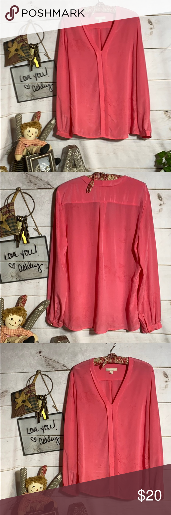 Banana Republic; Silk; Pink Blouse; Top; Shirt; 12 Banana Republic; Silk; Pink; Blouse; Top; Shirt; 12 Gorgeous hot pink color; Long sleeves with 1 decorative button on each cuff;  v-neck; 5 hidden buttons - center front closure; 100% silk; dry clean only!! Beautiful Silk Blouse!!!  Color is gorgeous!! This will be your new favorite blouse!! Soft & comfy feeling 😊💕💕💕 Banana Republic Tops Blouses    Source by rocojz21 #Banana #Blouse #Pink #pink Blouses #Republic #shirt #Silk #Top