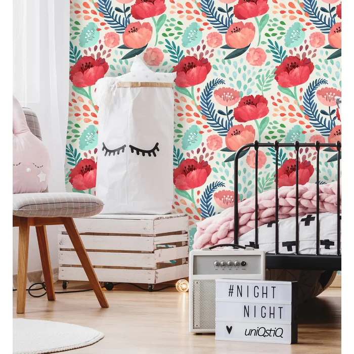 Vintage Poppy Flower Wallpaper Removable Peel And Stick Etsy Watercolor Floral Wallpaper Floral Wallpaper Floral Nursery