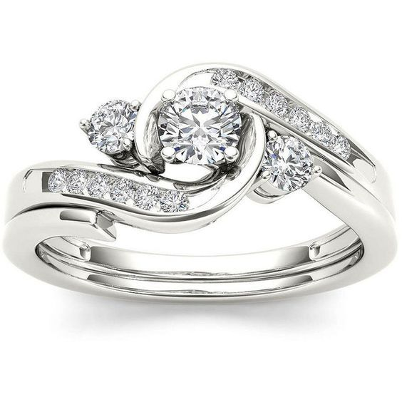 1 2 Ct T W Diamond 10k White Gold 3 Stone Bypass Ring Set 1 500 Liked On Diamond Rings Design White Gold Diamond Rings Swirl Diamond Ring