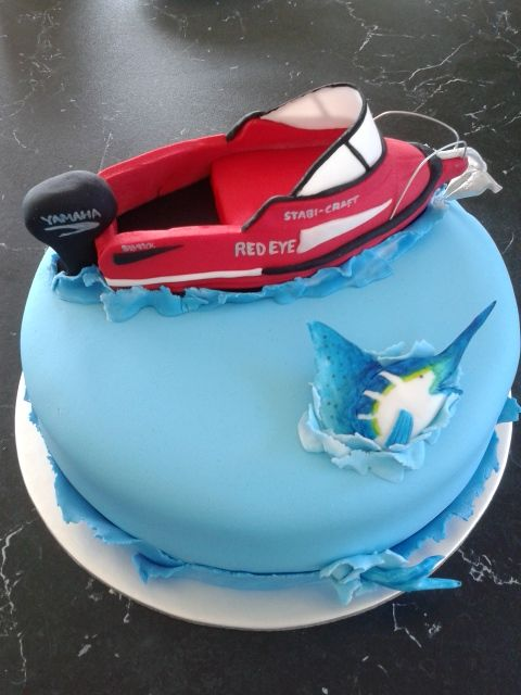 Gone Fishing Cake Red Boat Marlin Birthday Cake Deploy the