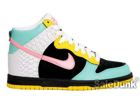 new arrival 9753f 1d70b Black Nike 6.0 Girls Dunk High Blue Yellow Pink