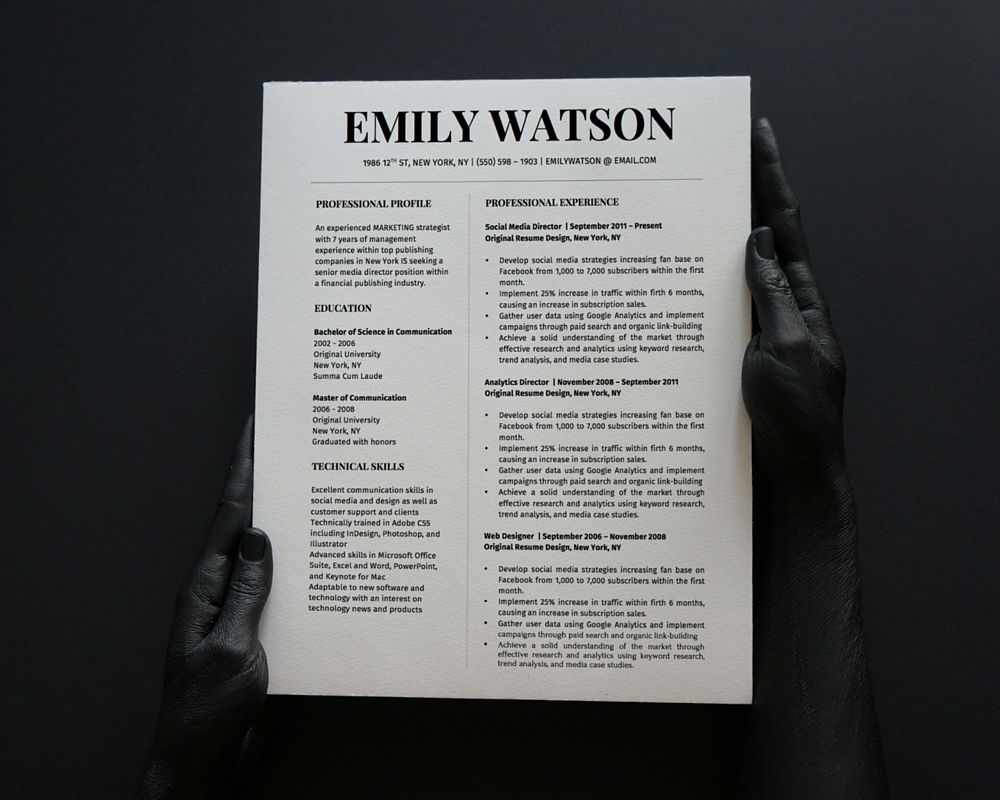 Emily Watson Resume Template for MS Word | Stand Out Shop | Emily ...