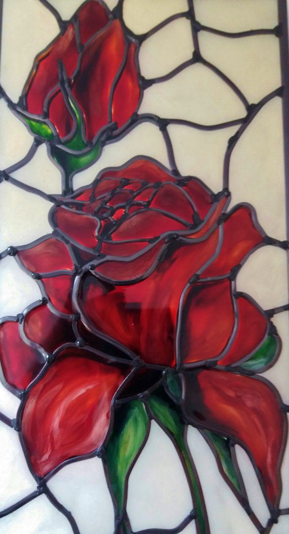 Red Rose ~ A bespoke Art Nouveau ~ Tiffany style and inspired Rose leaded, stained glass effect decorative wall panel. By Douglas Payne