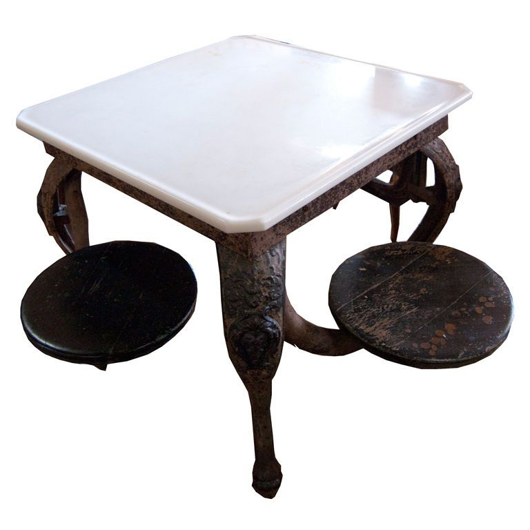 S american cast iron ice cream parlor table
