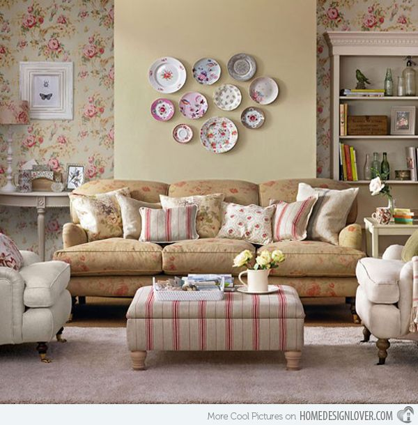 15 Living Room With Floral Wallpapers Home Design Lover Vintage Living Room Country Living Room Furniture Country Living Room Design