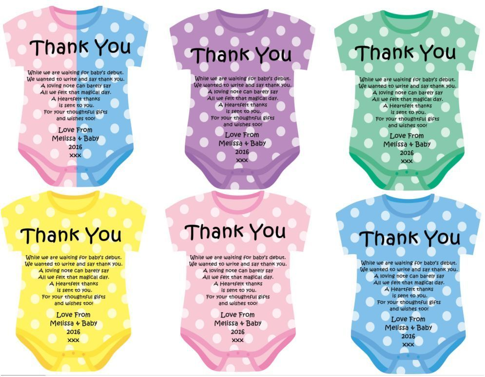 Baby Shower Thank You Card x 20 fully personalised Babies - baby shower thank you notes