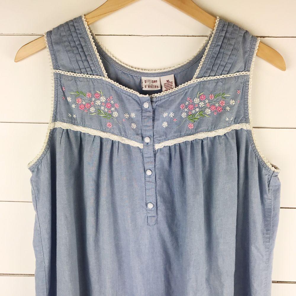 Details about gilligan u oumalley xl sleepwear pj chambray floral
