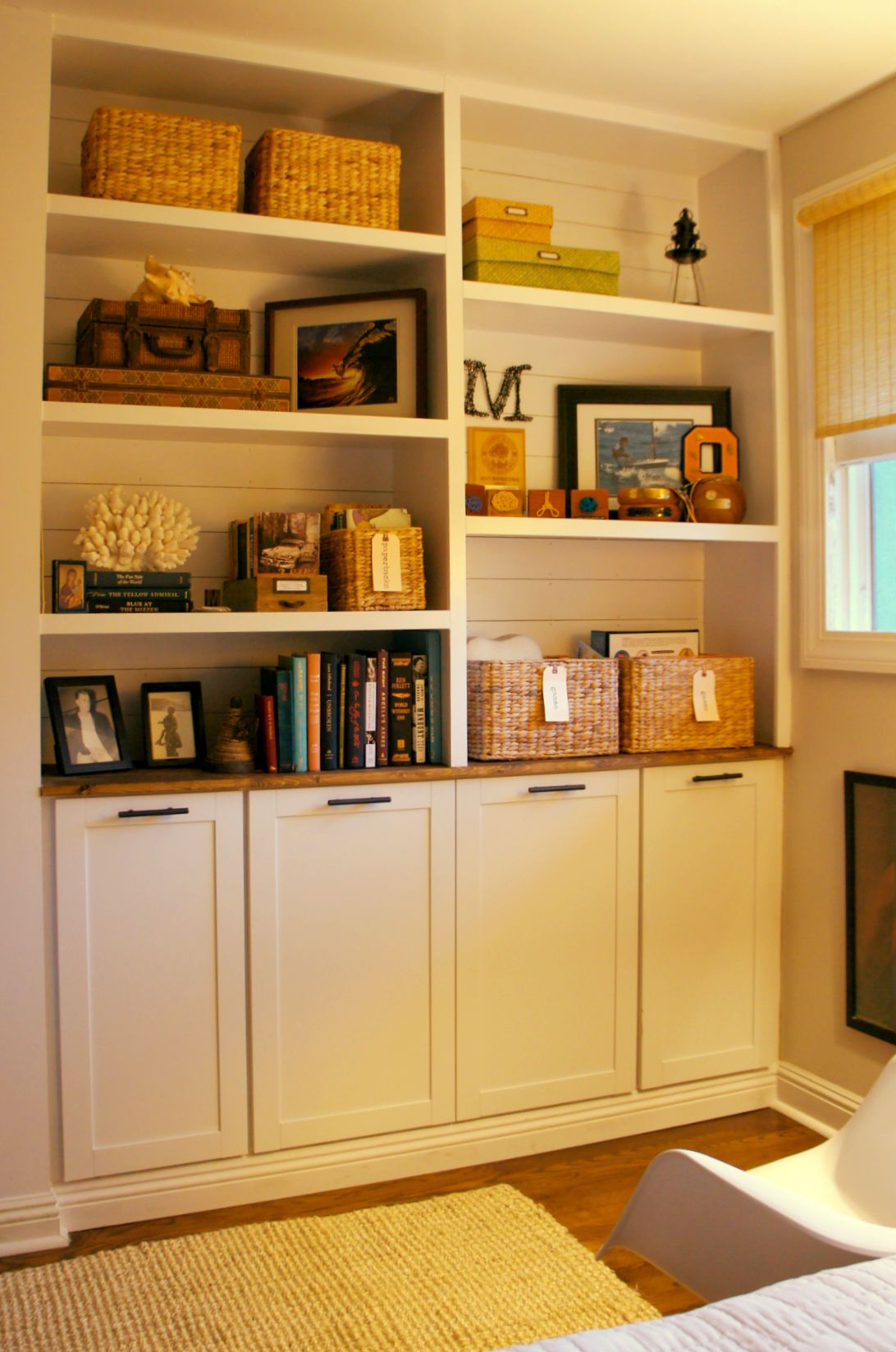 Shiplap shelves over builtin cabinets pre fabricated upper kitchen