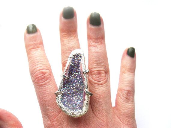 Huge Pink Titanium Druzy Statement Ring One of a by NakiaDesign, $150.00