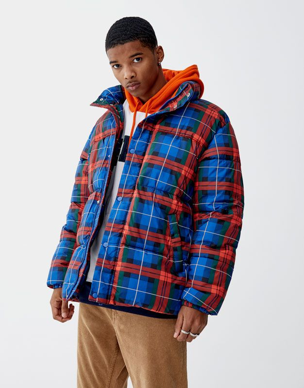 Checked puffer jacket - PULL&BEAR