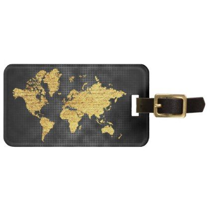 Gold faux world map professional black metal bag tag black metal gumiabroncs Image collections
