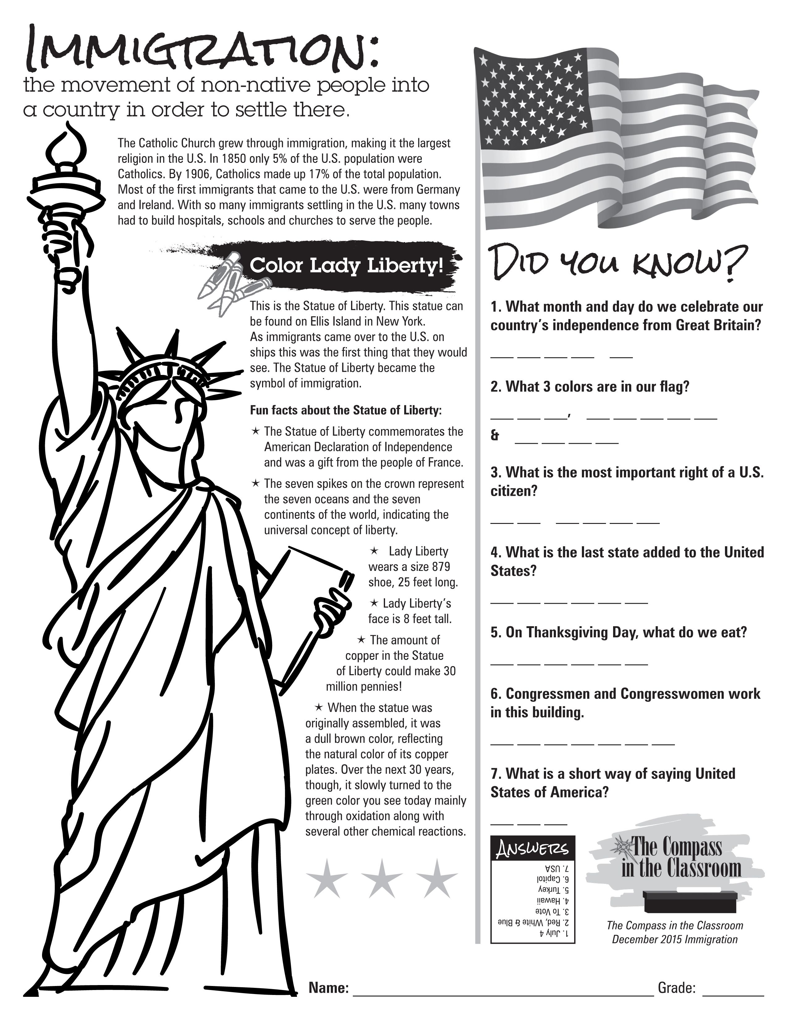Compass in the Classroom   Immigration Worksheet   History worksheets [ 3300 x 2550 Pixel ]