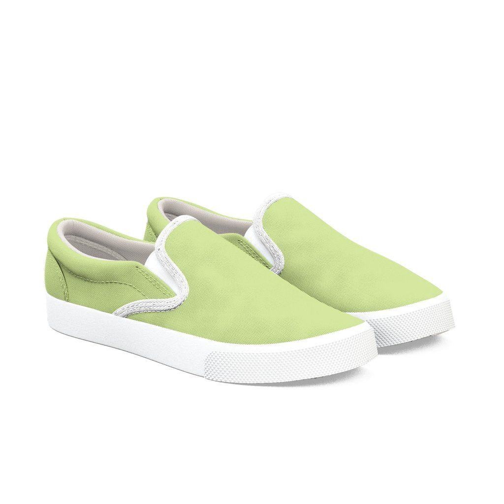 Lime Green Slip On Shoes, Canvas Slip