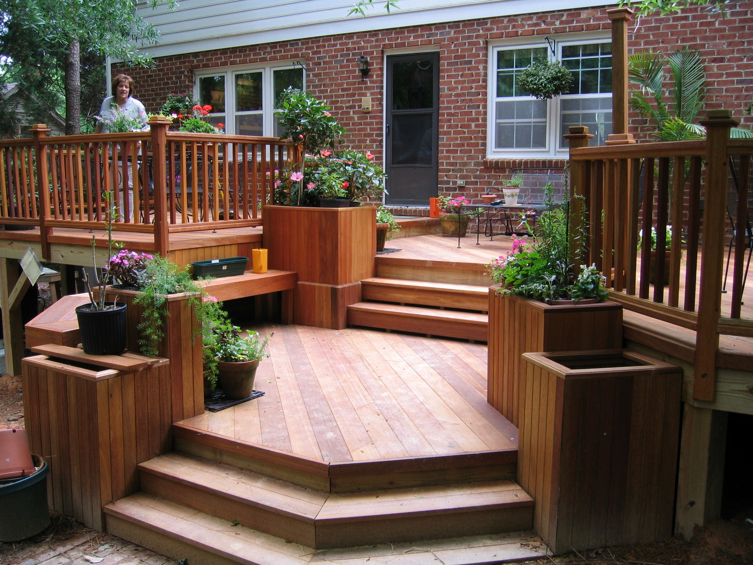 Hardwood Deck 3 Level Decks Backyard Patio Deck Designs Backyard Plan