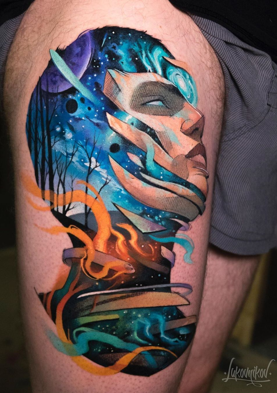 Beautiful surrealist doubleexposure tattoos mash up