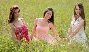 Девочки, Бадди, Три, Платья, Красота
