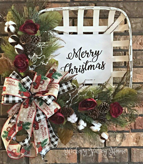 Christmas Wreath, Tobacco Basket Arrangement, Rustic Wreath, Winter Wreath, Front Porch Decor, Front Door Arrangement, Mantel or Wall Décor