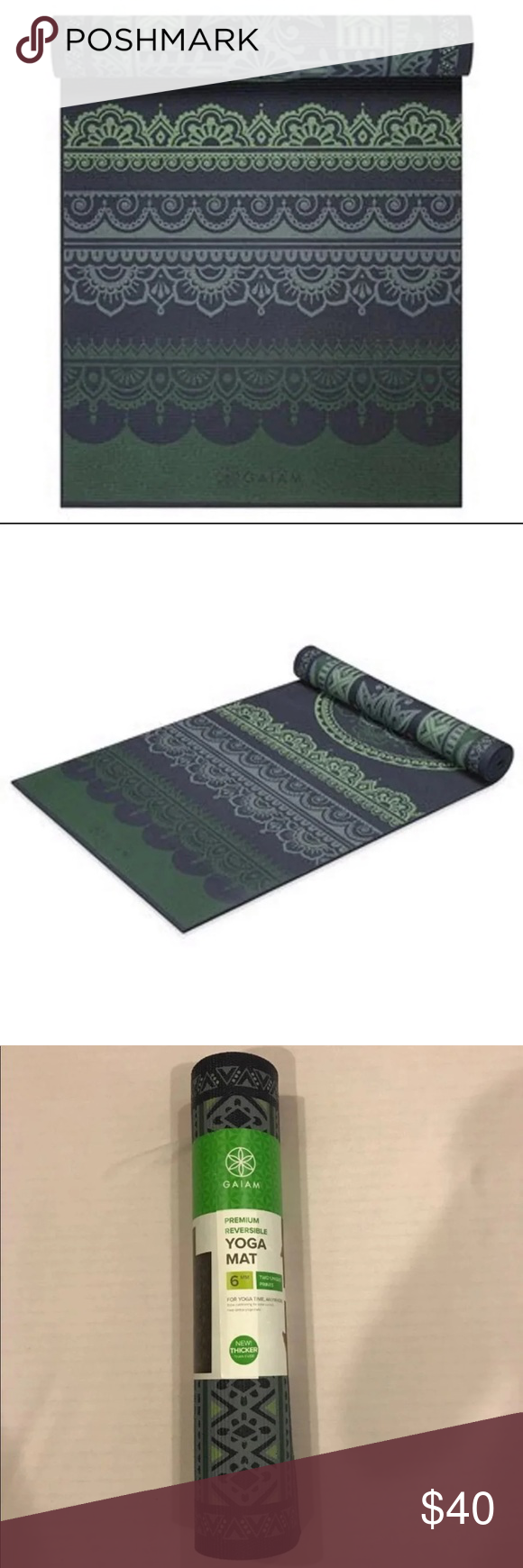 Gaiam 6mm Boho Folk Reversible Yoga Mat Gaiam 6mm Boho Folk Reversible Yoga Mat Product Features Premium 6mm Thickness Mat Offers Cushion Gaiam Yoga Mat Boho