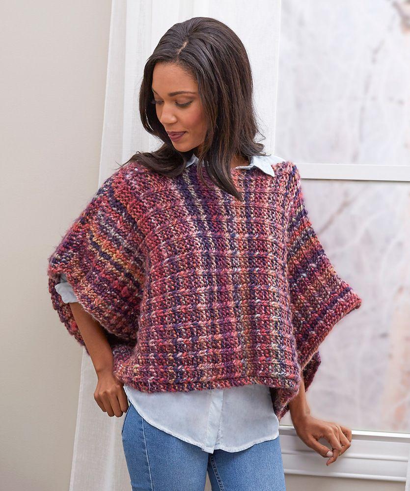 Easy Boat Neck Poncho Free Knitting Pattern | Boat neck, Knit ...