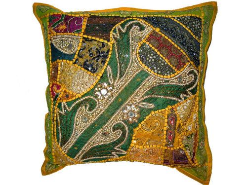 India art floral large floor pillow beaded work yellow cushion cover