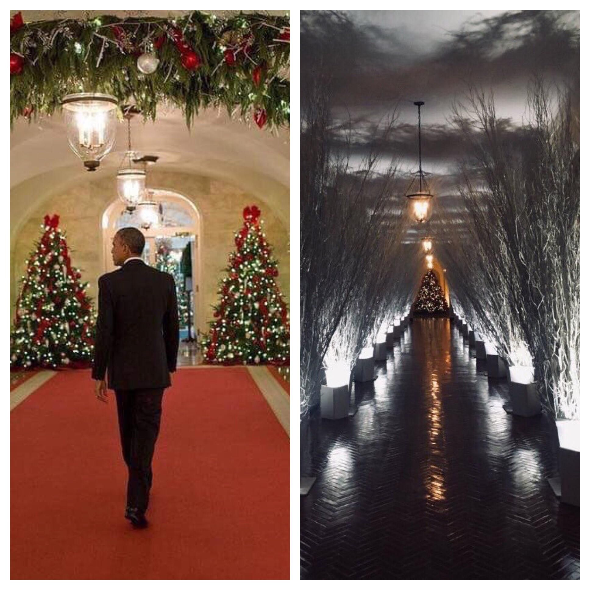 whitehouse christmas decorations obama vs trump - Obama Christmas Decorations