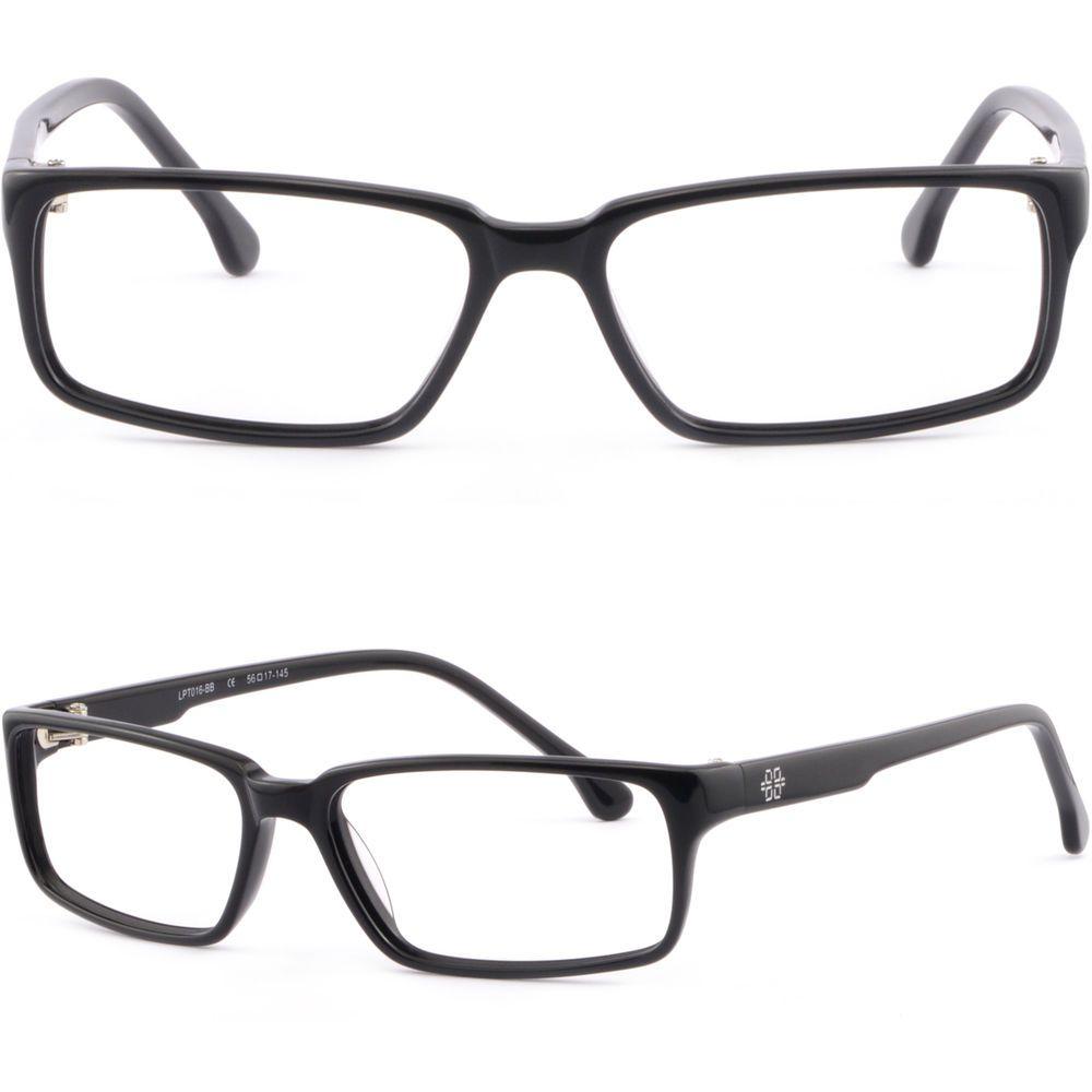 2885ba69bbd Shiny Black Full Rim Rectangular Light Plastic Frame Prescription Glasses  Lenses