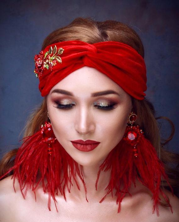 JACQUIE Red Velvet Turban Headband 15d9181c6a3