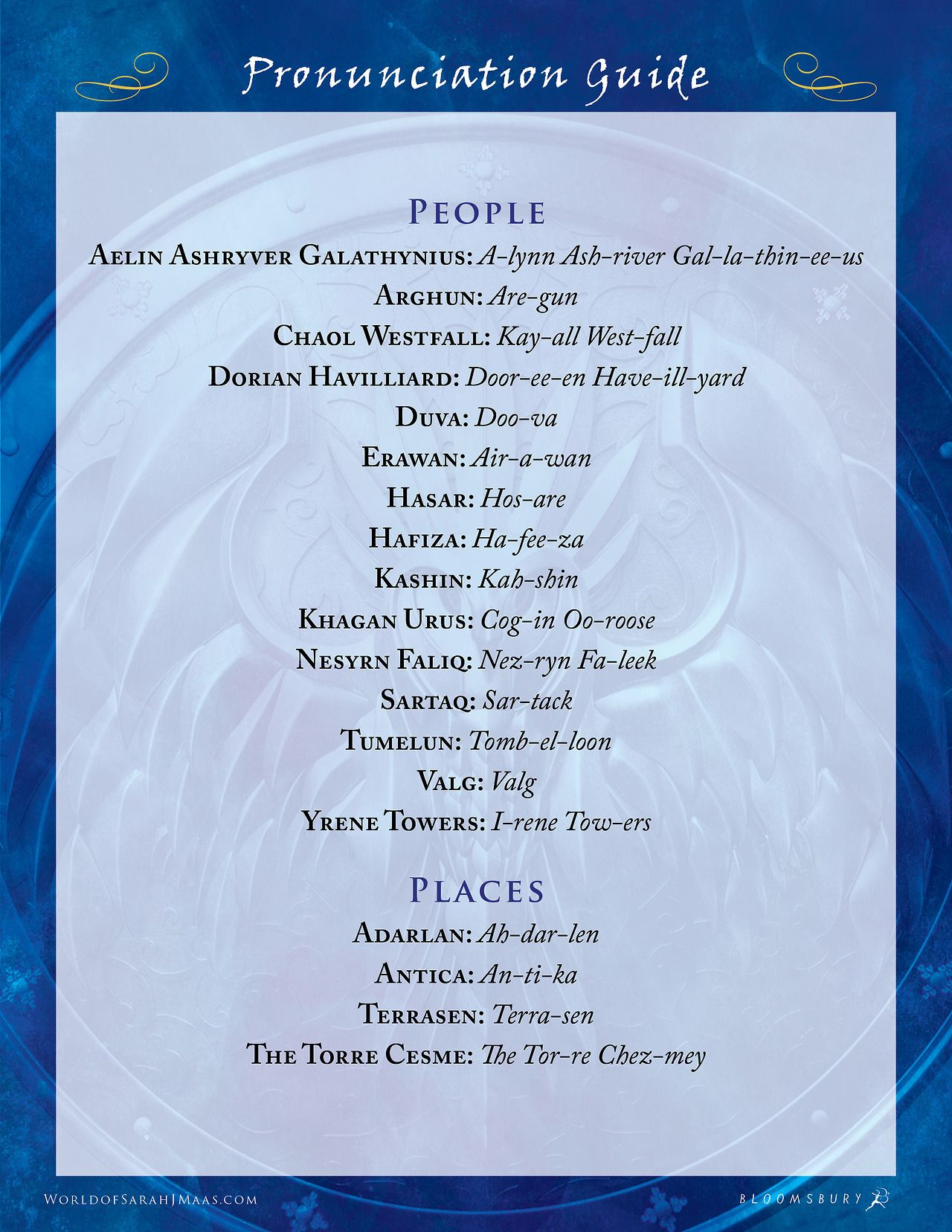 Pronunciation Guide Tower Of Dawn Throne Of Glass Quotes Throne