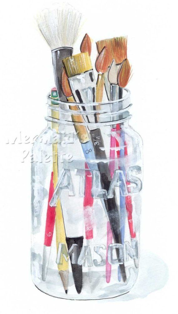 Watercolor Mason Jar With Paint Brushes Watercolor Print