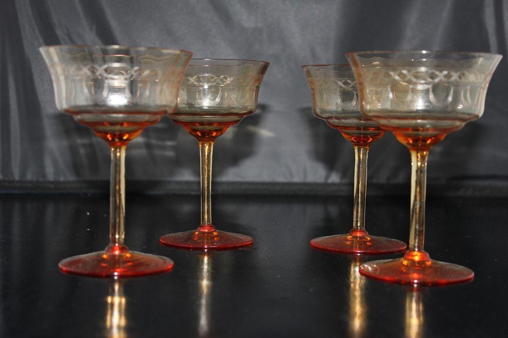 *FOR SALE* Fostoria #810 Stem w/Brunswick Etch 4 Champagnes/Sherbets Amber 1936 Catalog #Fostoria