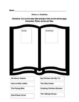 Fiction Vs Nonfiction Worksheet Fiction Vs Nonfiction School