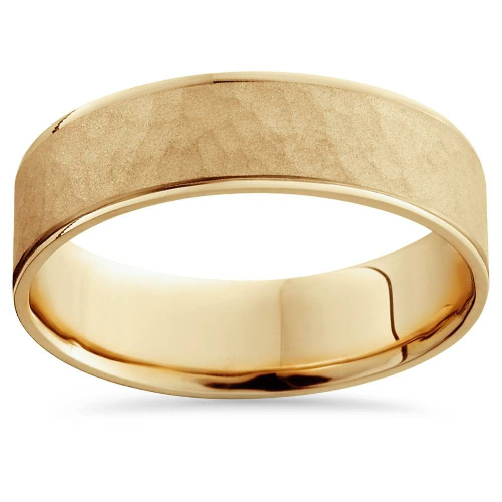 Pompeii3 14k Yellow Gold Mens Brushed Hammered Wedding Band 6mm Size 8 In 2020 Mens Gold Wedding Band Mens Wedding Rings Gold Mens Yellow Gold Wedding Bands