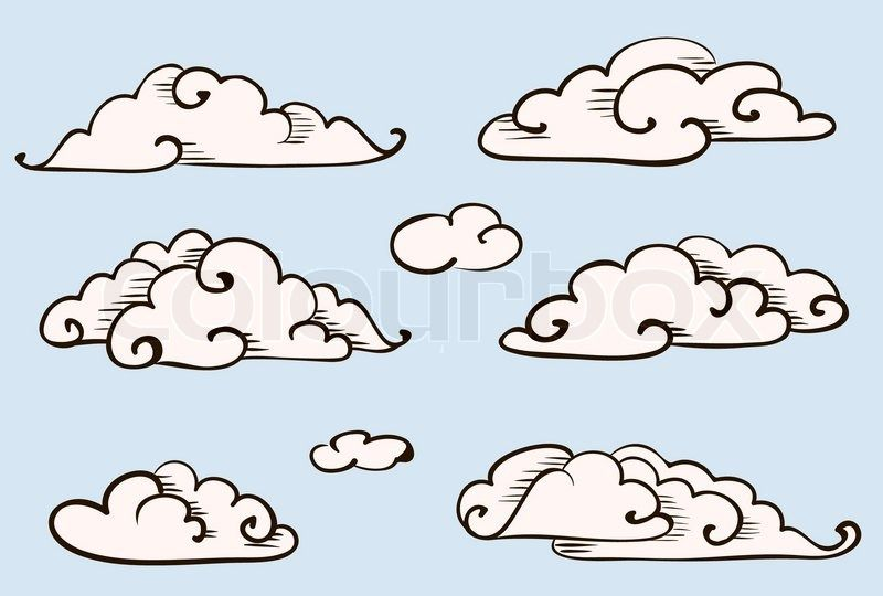 Cartoon clouds drawn. Set vintage vector stylized