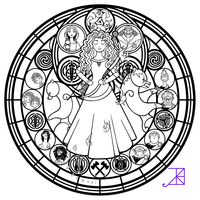 Stained Glass Merida Line Art By Akili Amethyst Dibujos