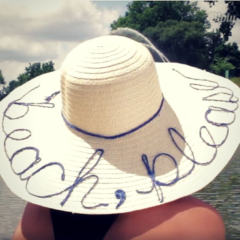 Make a statement this summer with your own custom hat! This simple summer DIY will have your fellow beach-goers green with envy!