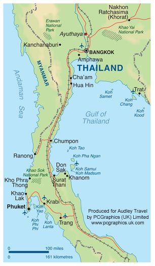 Map of Thailand produced by PCGraphics for Audley Travel Group See