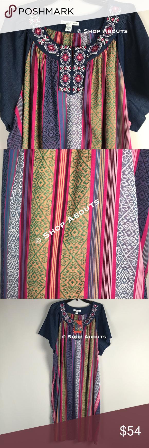 4907994935 Go Softly Plus Denim Patio Duster Muu House Dresd New with tags dark denim  patio dress