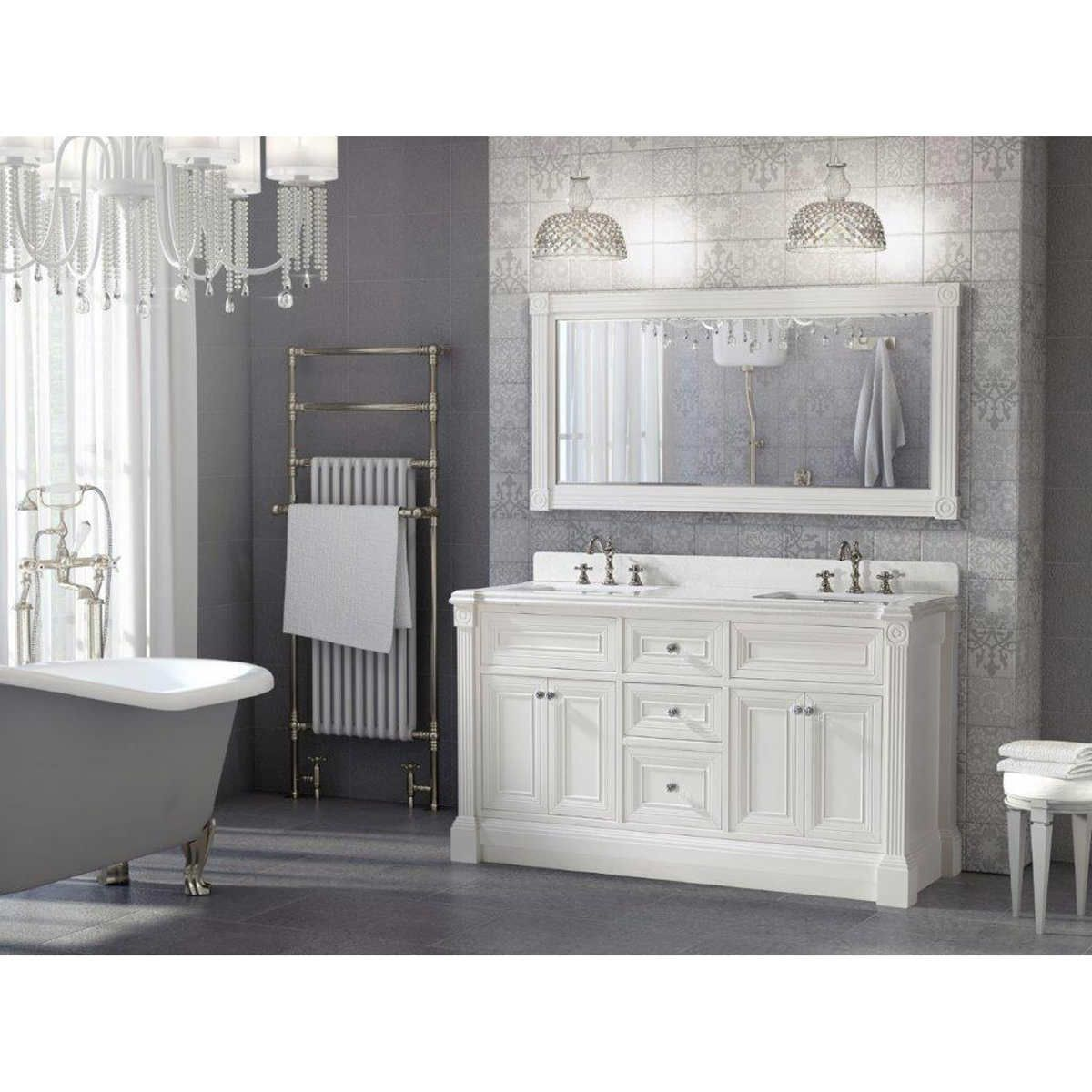 Inch White Finish Double Sink Bathroom Vanity Cabinet With - 63 inch double sink bathroom vanity for bathroom decor ideas