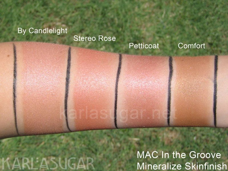 mac in the groove swatches mineralize skinfinish msf by