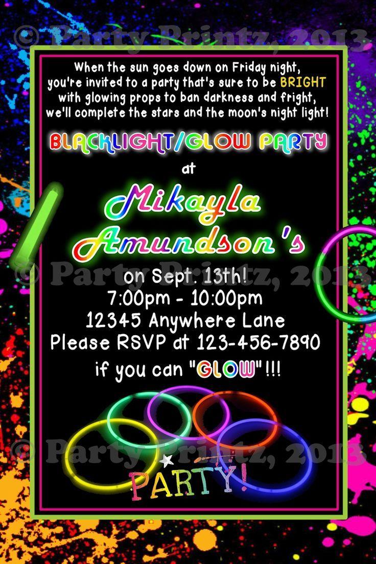 Glow In The Dark Birthday Party Invitations Glow stick