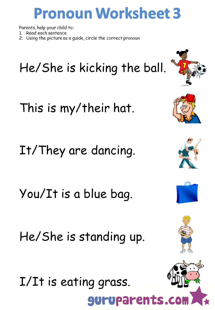 Free Kindergarten Worksheets Pronoun worksheets, Pronoun
