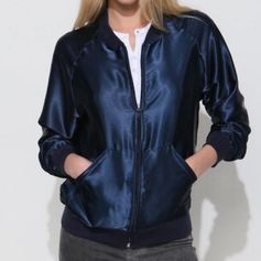 Begagnad American Apparel satin jacket, M-L #americanapparel #satin #unisex #navy #jacket #bomber